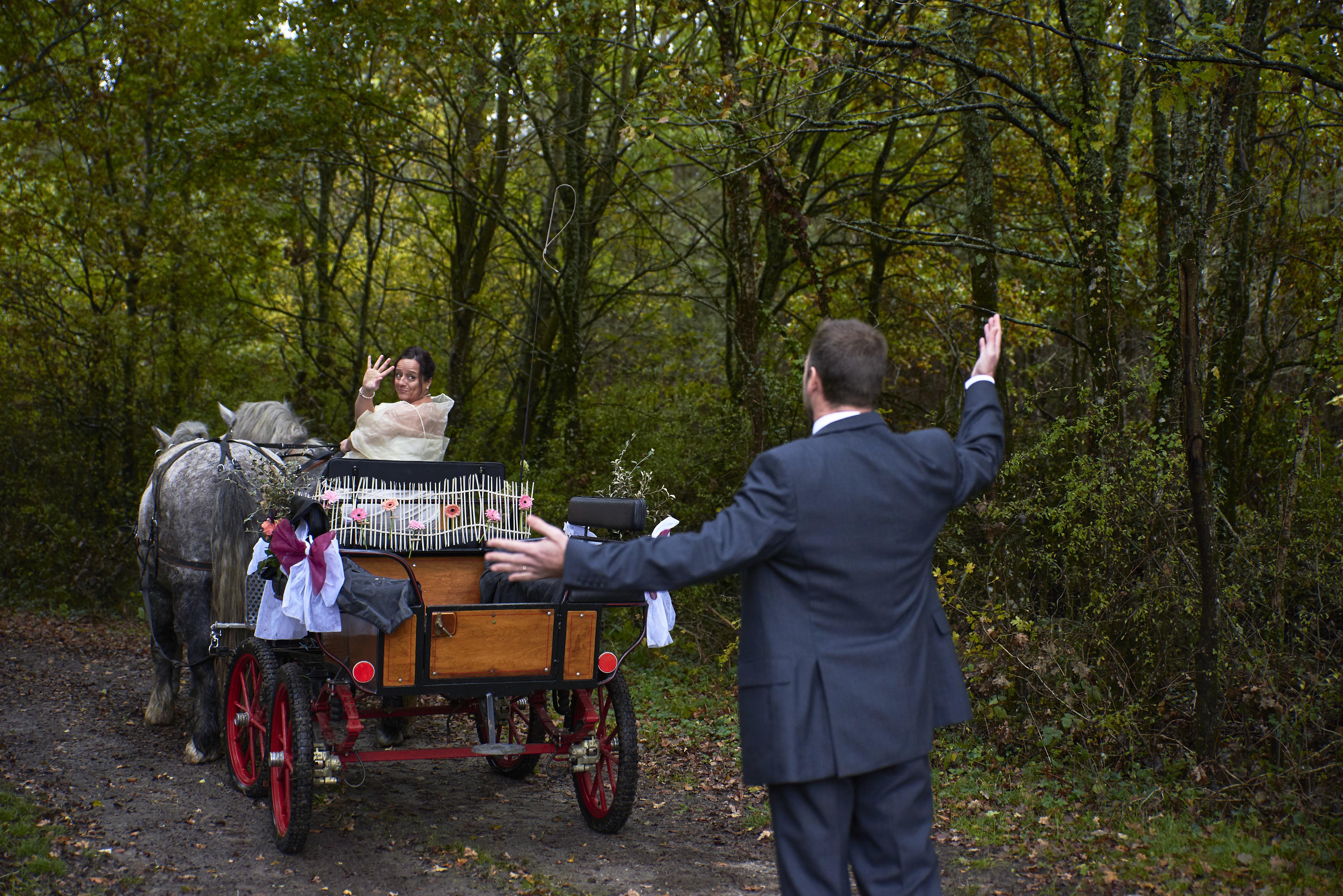 mariés calèche amusement