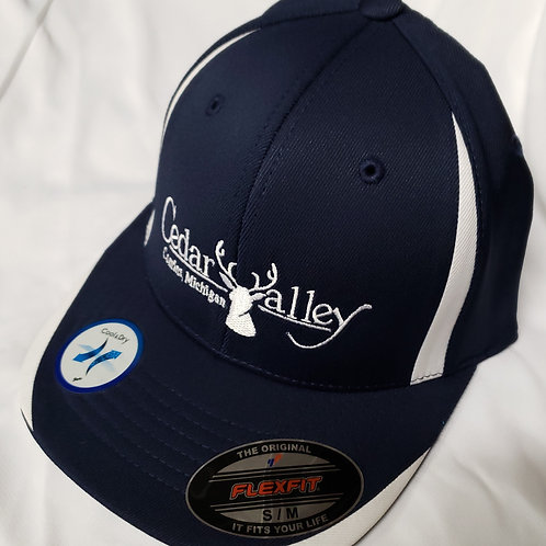 Fitted Logo Hat - Navy Blue and White