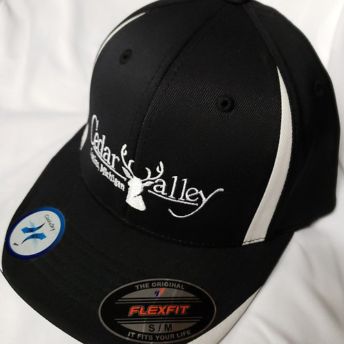 Fitted Logo Hat - Black and White with White Logo