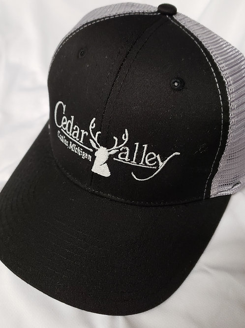 Twill Mesh Logo Hat -Black and Grey Ventilated with Grey Logo
