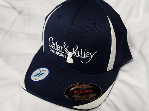 Fitted Logo Hat - Dark Blue and White with White Logo
