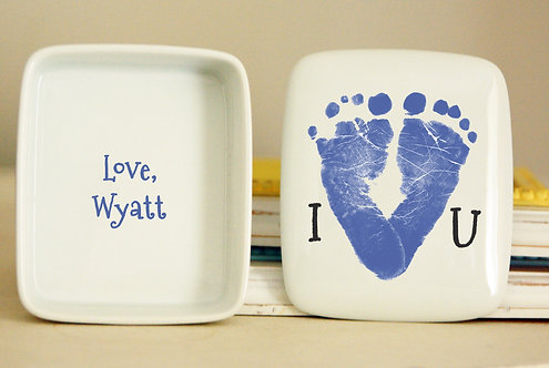 I Heart You Footprint Keepsake Box