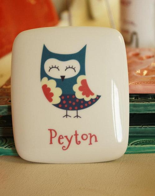 Blue Owl Porcelain Keepsake Box
