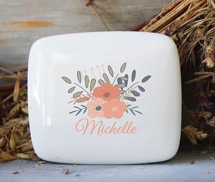 Orange Floral Porcelain Keepsake Box
