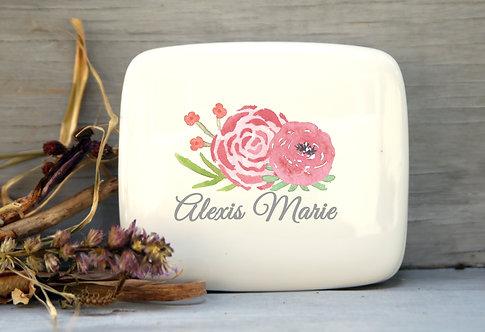 Pink Flower Porcelain Keepsake Box