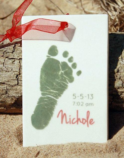 Christmas Footprint Rectangle Ornament