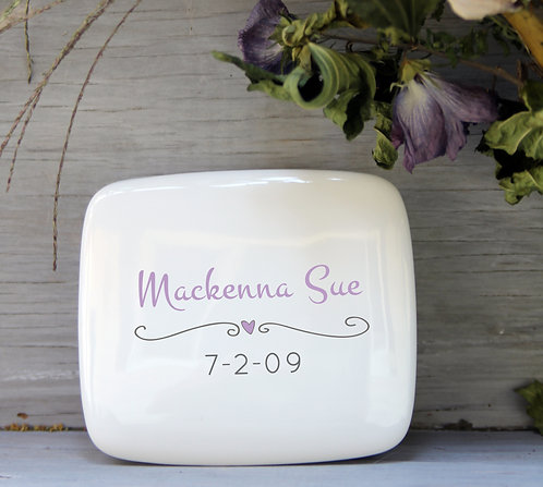 Heart & Name Porcelain Keepsake Box