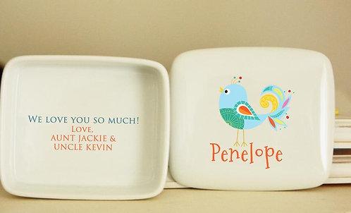 Blue-Green Bird Porcelain Keepsake Box