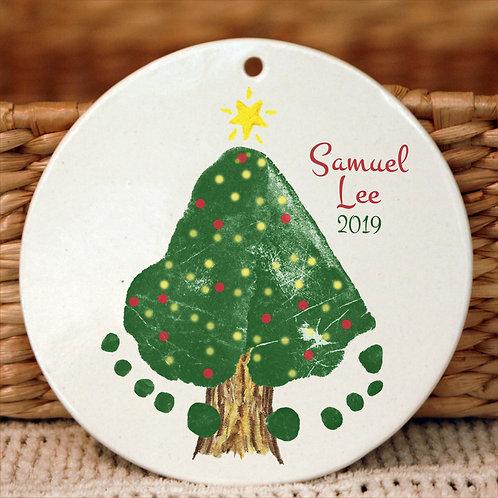 Footprint Christmas Tree Ornament