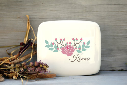 Rose Flower Porcelain Keepsake Box