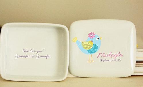 Yellow-Blue Bird Porcelain Keepsake Box