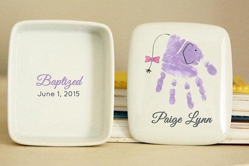 Elephant Handprint Porcelain Keepsake Box