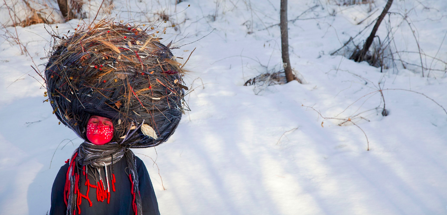 """Wanderings Series. Dream Catcher, 2015, archival pigment print on watercolour paper, 32"""" x 66"""", The Baldwin Gallery, © Meryl McMaster 2018"""