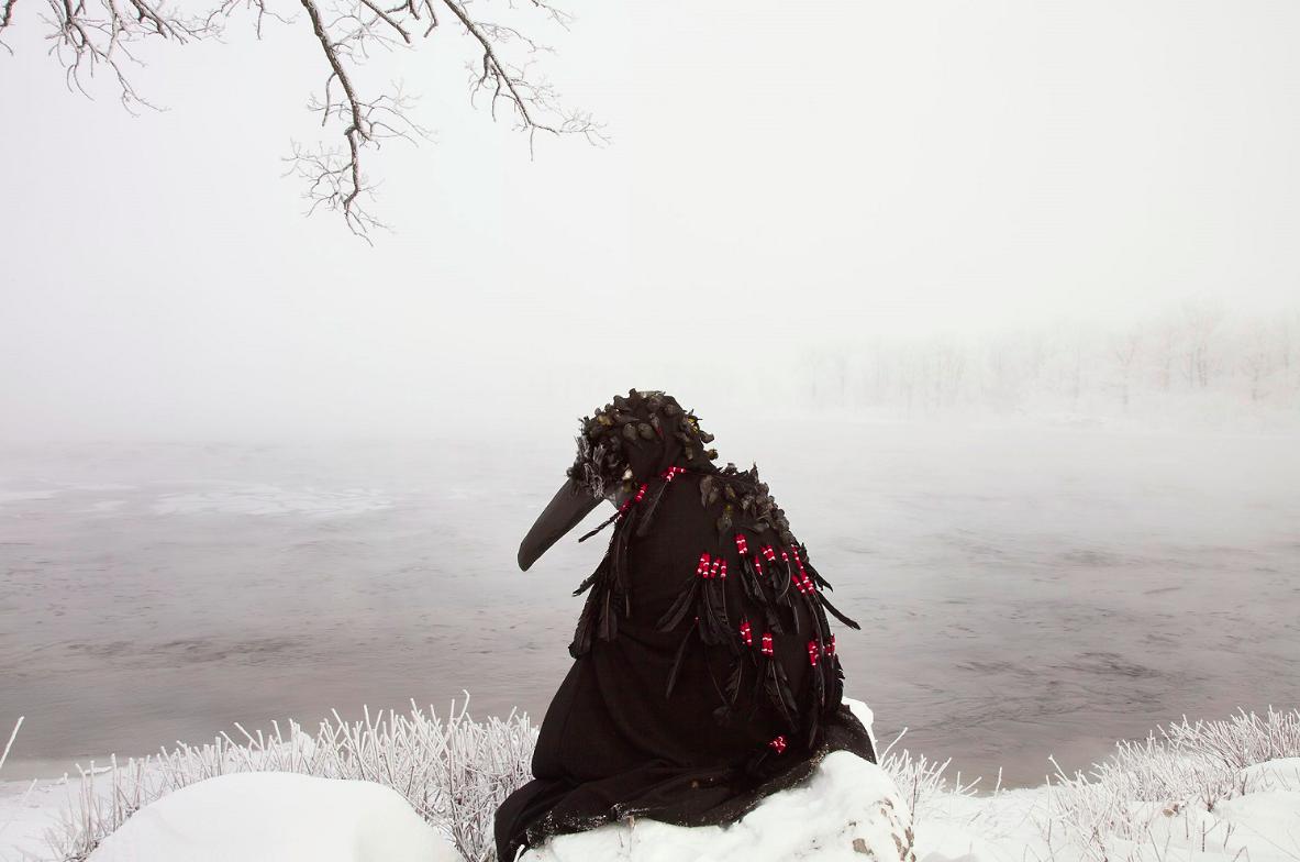 "In-Between Worlds Series. Winged Calling Variation I, 2015, digital chromogenic print, 24"" x 36"", The Baldwin Gallery, © Meryl McMaster 2018"