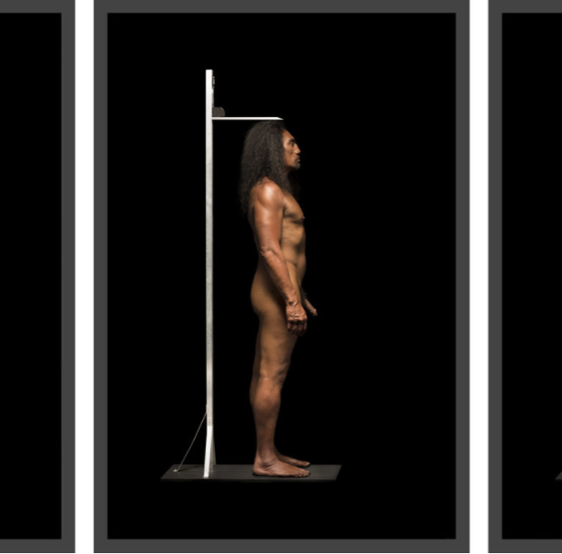 Front, Side and Back View with Stadiometer, Yuki Kihara, A Study of a Samoan Savage Series, 2015 2015