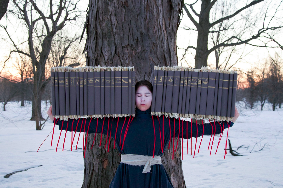 """Wanderings Series. Time's Gravity, 2015, archival pigment on watercolour paper, 30"""" x 45"""", The Baldwin Gallery, © Meryl McMaster 2018"""