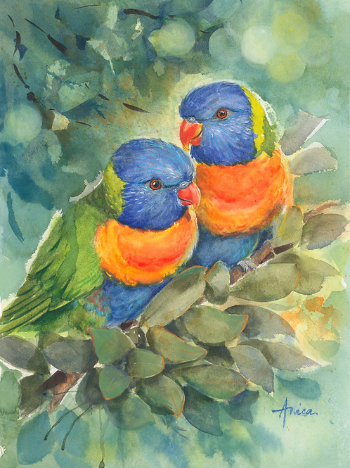 A Happy Pair of Rainbow Lorikeets