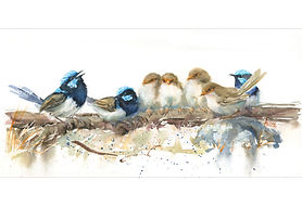 Family of Wrens on a Log