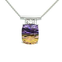 Amatrine and diamond pendant
