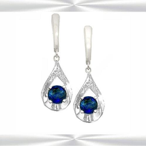 Natural Sapphires & Diamond Earrings