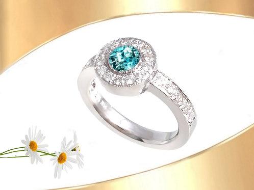 Zircon Halo` Ring