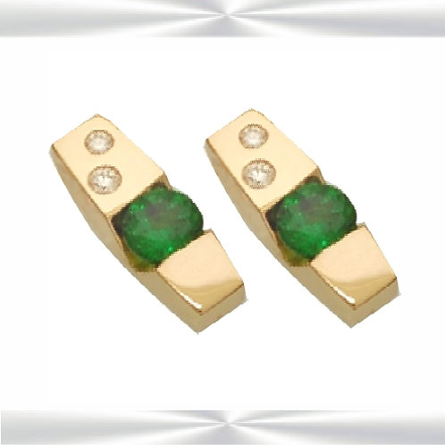Natural Emeralds & Diamond Earrings