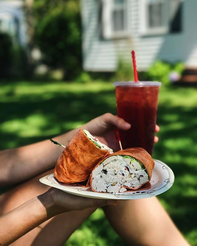 Our local fan favorite_ chicken salad, cranberries and walnuts in a phaaaat wrap 👌🏻