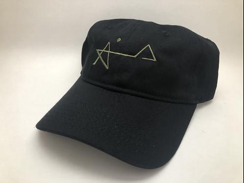 Black/ olive thread dad cap