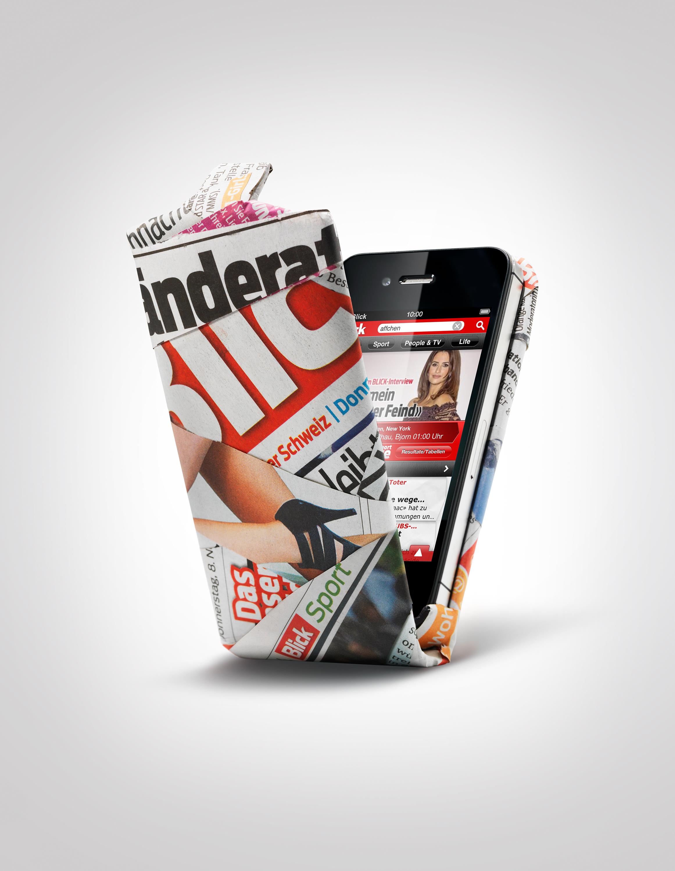 Blick Werbekampagne iPhone Zeitung
