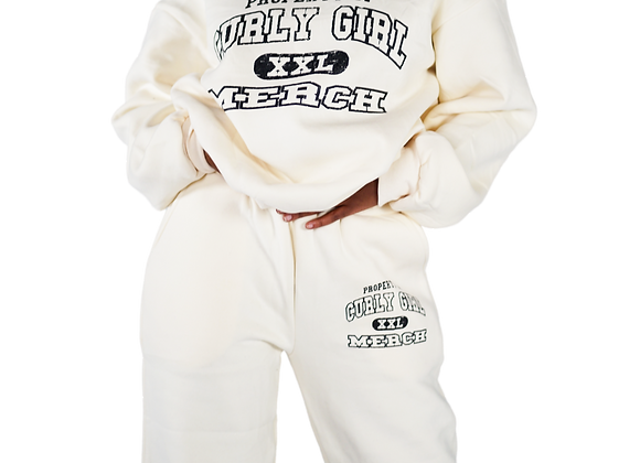 'Property of' Cropped Joggers - Cream