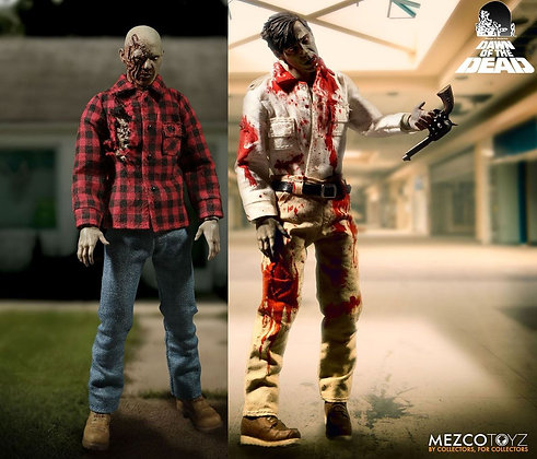 1/12 Scale Flyboy & Plaid Shirt Zombie from Dawn of the Dead 2-Pack (One:12 Coll