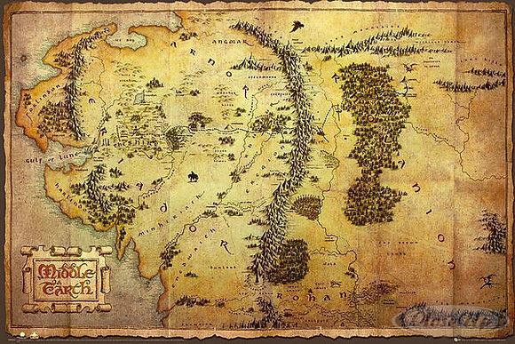 The Hobbit Poster Karte von Mittelerde