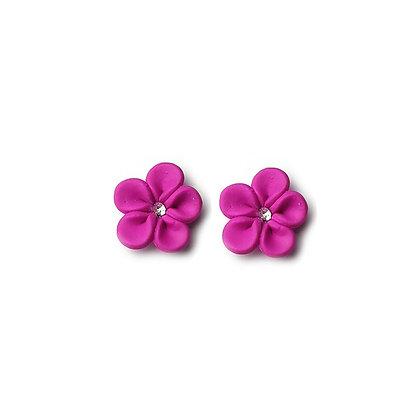 Flower Me Pretty Stud Hot Pink earrings with Swarovski Strass