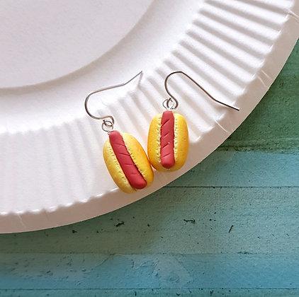 Hot dog dangle earrings