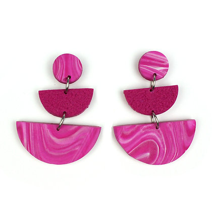 Oh my Marble Hot Pink Statement earrings