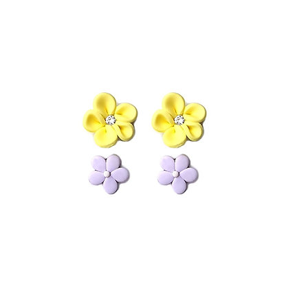Flower mix stud Yellow and Lilac earrings