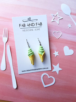 Matcha green tea ice cream earrings