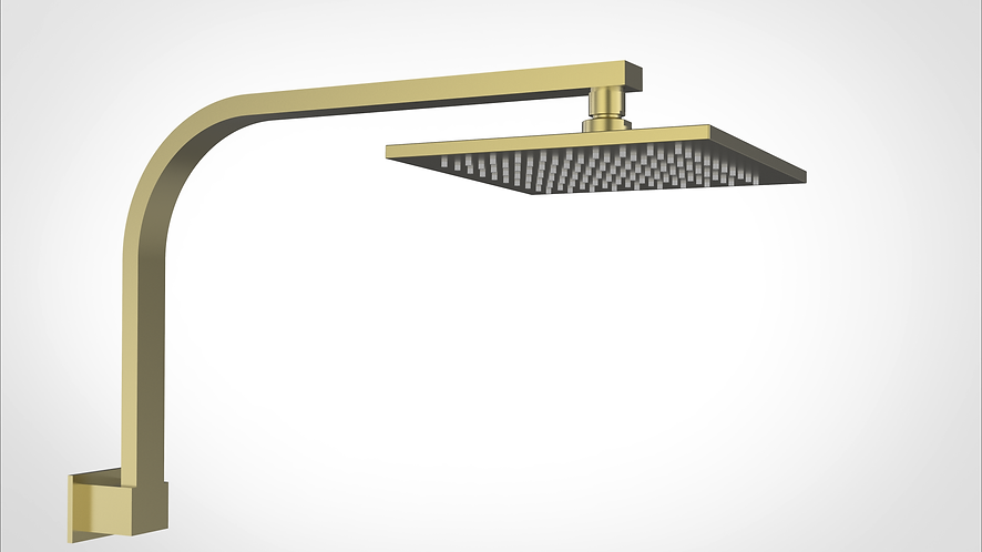 Rondo Square Overhead Shower Set Brushed Gold