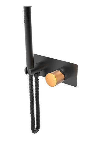 Handel Hand Shower Set Black with Gold Brushed