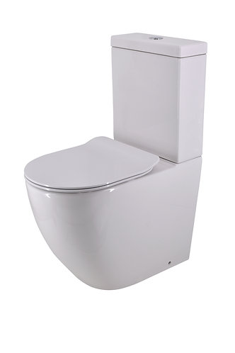 Lento Rimless Back-to-Wall Toilet Suite Back-Entry with Slim Soft-Close Seat