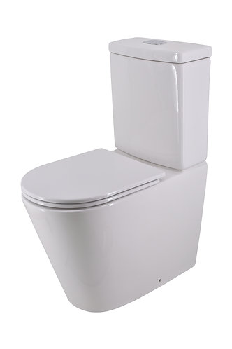 Bassini Rimless Extra Height Back-to-Wall Toilet Suite with Slim Soft-Close Seat