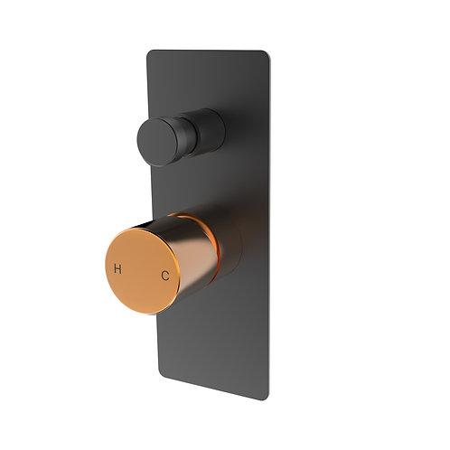 Handel Wall Diverter Mixer Black with Gold Brushed Rectangle