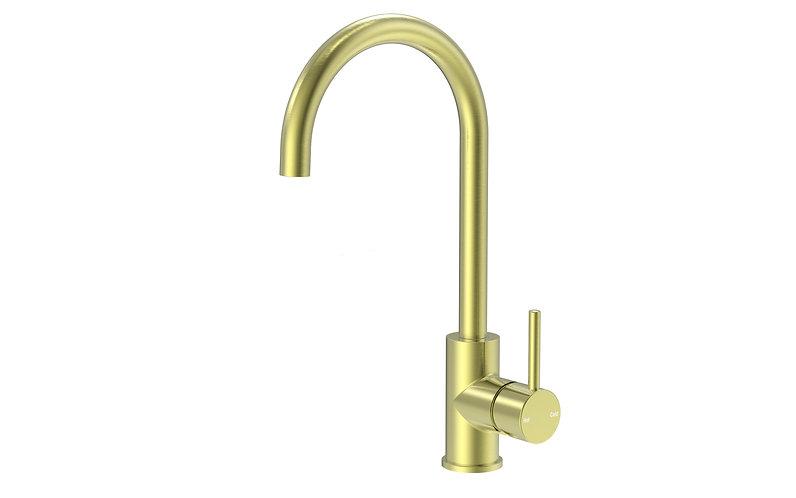 Senza Round Gooseneck Sink Mixer Brushed Gold