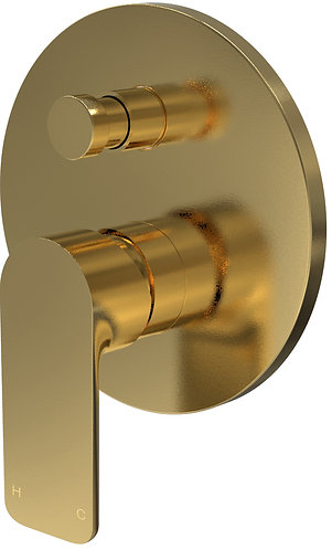 Bassini Wall Diverter Mixer Brushed Brass