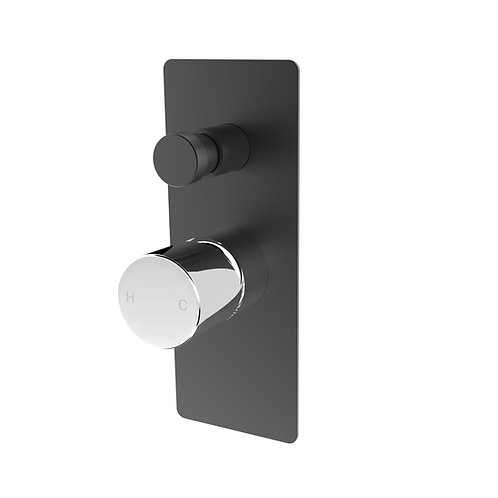 Handel Wall Diverter Mixer Black with Chrome Rectangle