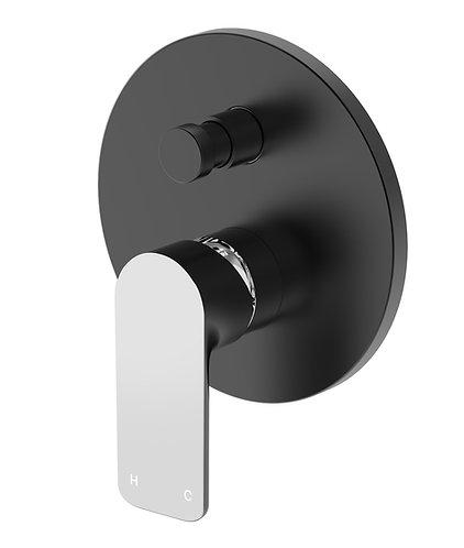 Bassini Wall Diverter Mixer Black/Chrome