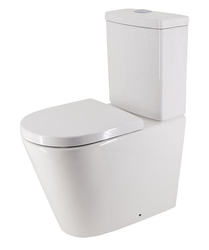 Bassini Rimless Extra Height Back-to-Wall Toilet Suite with Soft-Close Seat