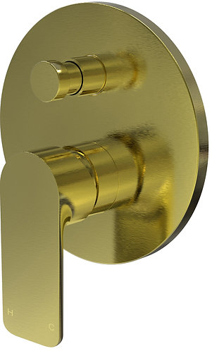 Bassini Wall Diverter Mixer Brushed Gold