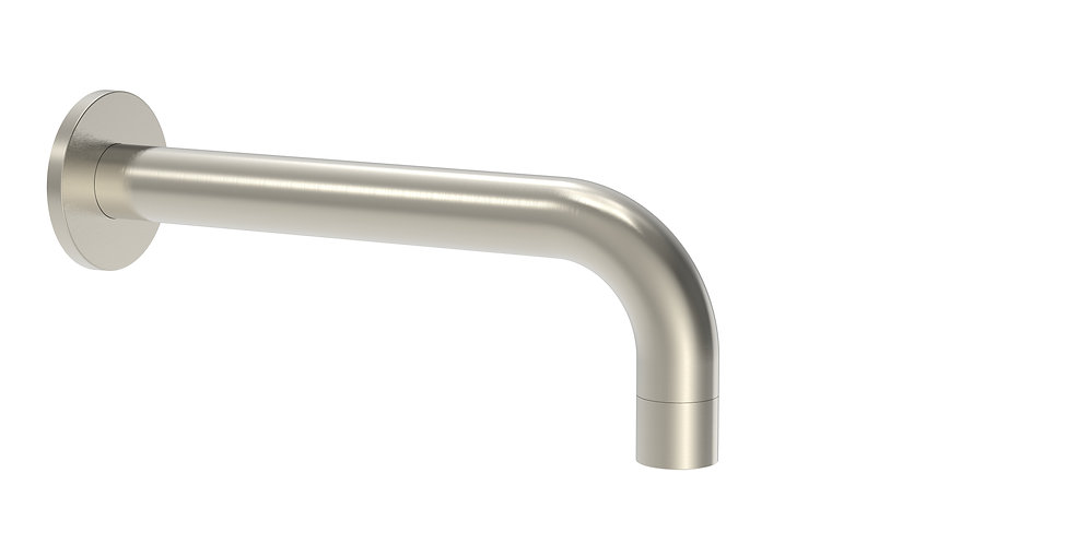 Senza Curved Bath Spout Fixed Brushed Chrome