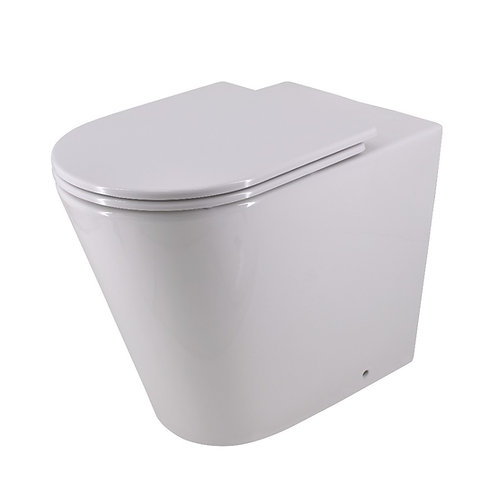 Bassini Wall-Faced Extra Height Toilet Suite with Slim Soft Close Seat